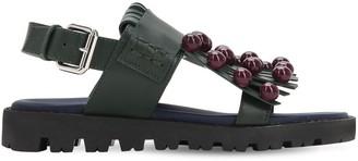 Marni Junior Leather Sandals W/ Appliques