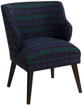 One Kings Lane Kira Accent Chair - Navy Plaid