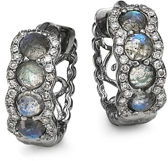 Nina Gilin Black Rhodium Silver, Diamond & Labradorite Huggie Earrings