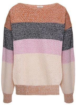 Joie Color-block Open-knit Cotton-blend Sweater
