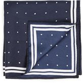Topman Navy and White Bordered Pocket Square
