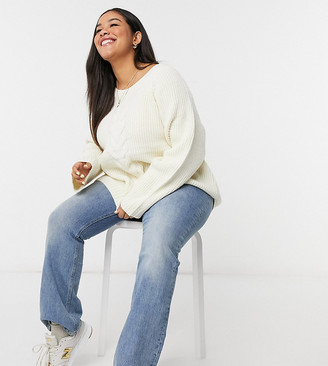 Only Curve jumper in cream knit
