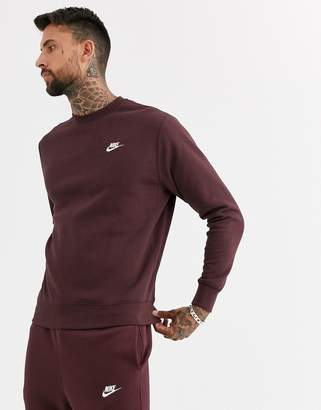 Nike Club crew neck sweat in brown SUIT 2