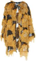 Paule Ka Patchwork Jacquard Fringe Coat