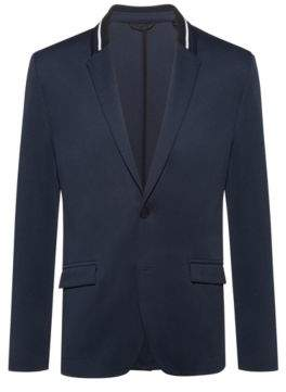 HUGO Regular-fit tailored jacket with knitted collar stripe
