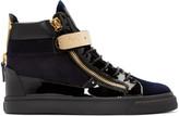 Giuseppe Zanotti Black & Navy Velvet London High-Top Sneakers