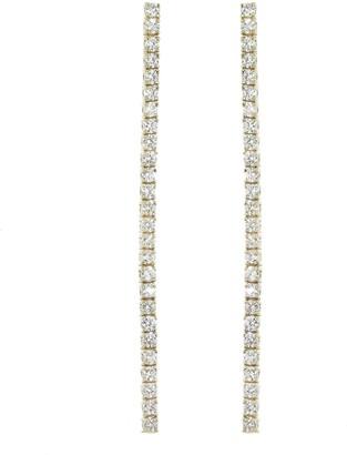 Jennifer Meyer Long 4 Prong Diamond Tennis Stud Yellow Gold Earrings