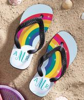 Personalized Planet Women's Flip-Flops - Rainbow Adult Monogram Flip-Flops - Women