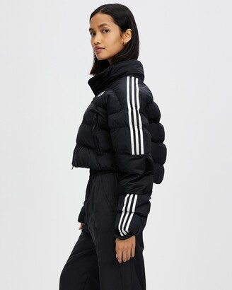 adidas Women's Black Parkas - Short Synthetic Down Puffer Jacket - Size 12 at The Iconic