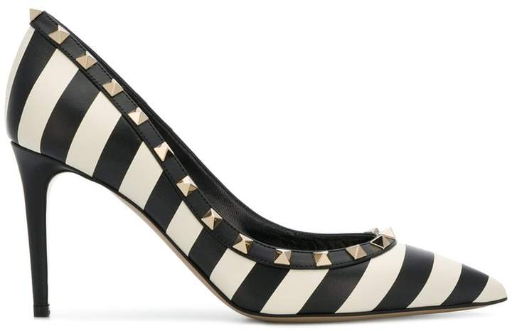 Valentino striped Rockstud pumps