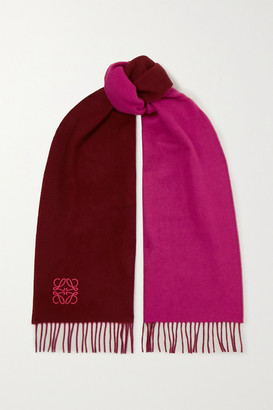 Loewe Anagram Embroidered Fringed Two-tone Wool And Cashmere-blend Scarf - Burgundy