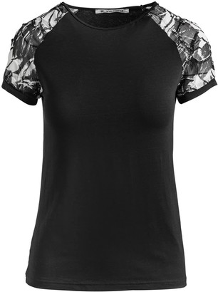 Conquista Black Top With Net Jacquard Sleeves In Stretch Jersey Sustainable Fabric