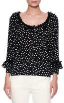 Dolce & Gabbana Polka-Dot Ruffled 3/4-Sleeve Cardigan, Black/White