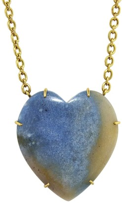 Irene Neuwirth 41.82 Carat Dumortierite in Quartz Heart Yellow Gold Necklace