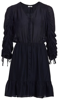 Parker Fletcher Ruched Three-Quarter Sleeve Ruffle Dress