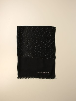 Emporio Armani Neck Scarf Stole In Viscose And Modal With Lurex Sequins