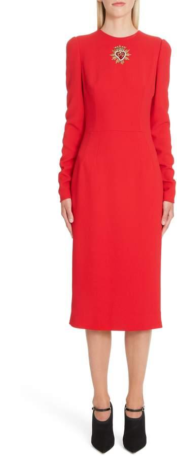 Dolce & Gabbana Sacred Heart Patch Cady Pencil Dress