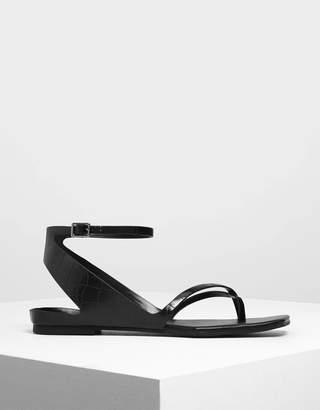 Charles & Keith Croc-Effect Ankle Wrap Toe Loop Sandals