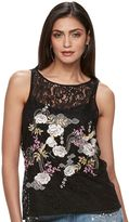 JLO by Jennifer Lopez Women's Embroidered Lace Popover Top