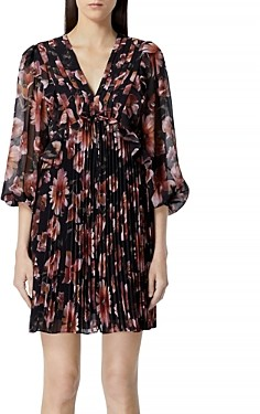 The Kooples Floral Print Pleated Mini Dress