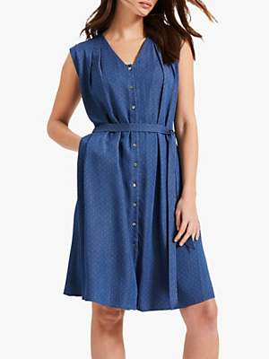 Phase Eight Laurie Pinspot Dress, Chambray