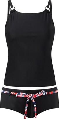 Scuba Ladies Swimwear Scuba Women's Circle Trim Tankini Shorts Swim Set UK Seller - Black - Size 18