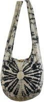 NaLuck White Tie Dye Hippie Boho Sling Crossbody Shoulder Messenger Bag Bohemian Medium HTM88