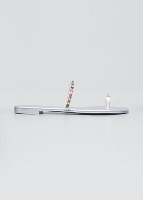 Giuseppe Zanotti Swarovski Rainbow Toe-Ring Flat Sandals