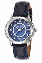 Lucien Piccard Women's 'Dalida' Quartz Stainless Steel and Blue Leather Casual Watch (Model: LP-40001-03)