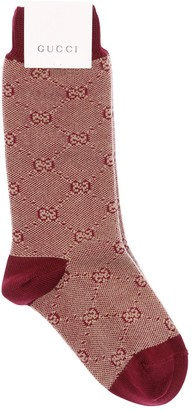 Gucci Logo Intarsia Cotton Knit Socks
