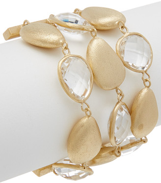 Rivka Friedman 18K Clad Rock Crystal Toggle Bracelet