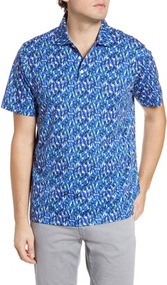 Bugatchi Abstract Print Short Sleeve Cotton Polo