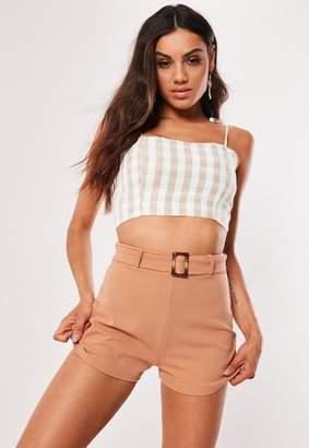Missguided Camel Tortoise Shell Belted Tailored Shorts