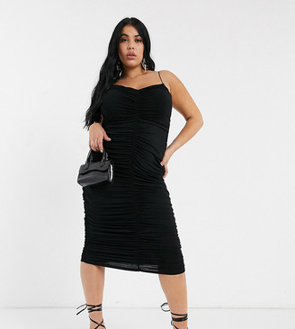 ASOS DESIGN Curve going out extreme ruched strappy midi dress