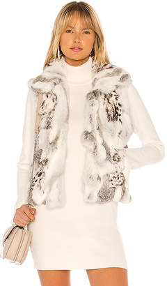 Adrienne Landau Printed Leopard Rabbit Fur Vest