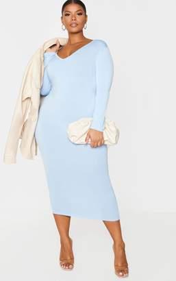 PrettyLittleThing Plus Lilac Jersey V Neck Long Sleeve Midi Dress