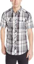 Burnside Men's Detractor Short Sleeve Woven Shirt, Light Grey
