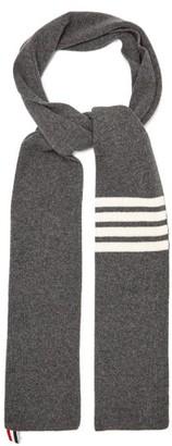 Thom Browne 4-bar Stripe-intarsia Wool Scarf - Mens - Grey