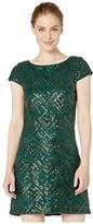Vince Camuto Sequin Cap Sleeve Shift (Hunter) Women's Dress