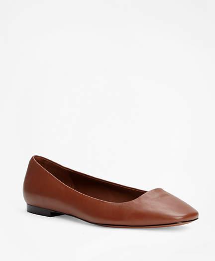Brooks Brothers Leather Square-Toe Flats