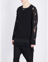 Ann Demeulemeester Laddered Linen-blend Sweatshirt