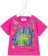 Moschino Kids peacock print T-shirt
