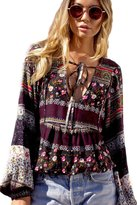 Moonpin Women's V Neck Lantern Sleeve Floral Ethnic Bohemian Lace Up Tunic Blouse Shirt Top L