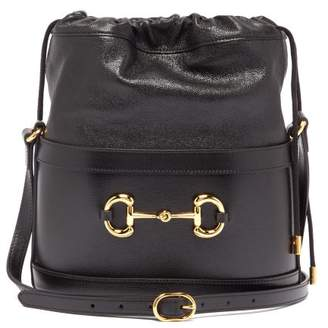 Gucci Morsetto Leather Bucket Bag - Womens - Black