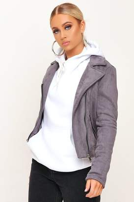 I SAW IT FIRST Grey Suede Biker Jacket
