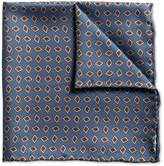 Charles Tyrwhitt Mid Blue Diamond Print Luxury Silk Pocket Square