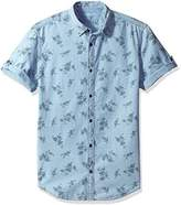 Calvin Klein Jeans Men's Short Sleeve Floral Print on Indigo Button Down Shirt