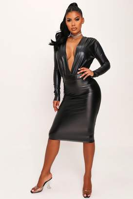 I SAW IT FIRST Black Curved Waist Faux Leather Pencil Skirt