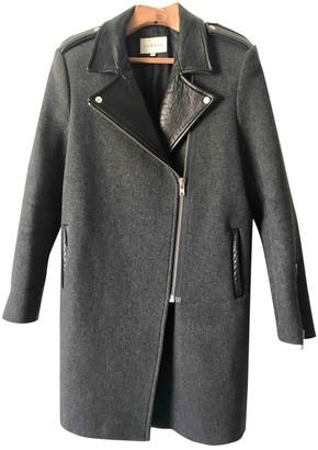 Sandro Grey Leather Coat for Women