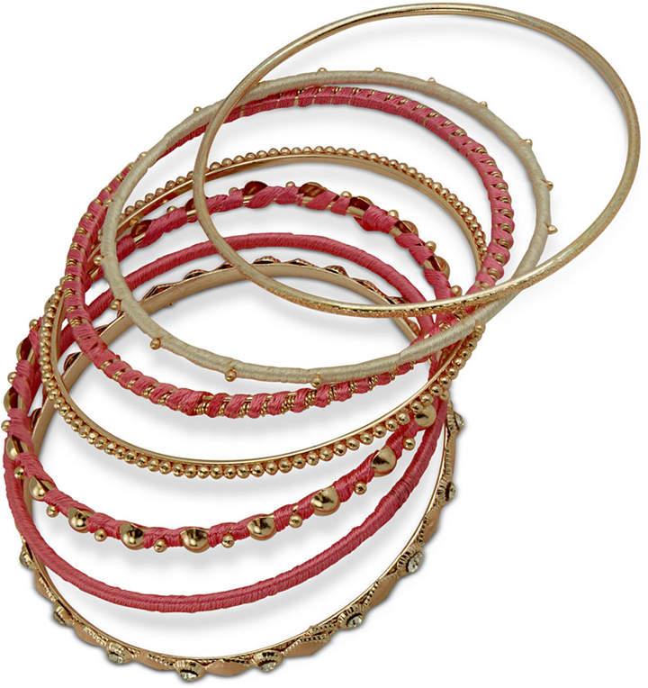 70e06f42424b7 Gold-Tone 7-Pc. Set Crystal & Thread-Wrapped Bangle Bracelets
